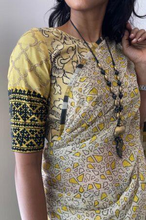 yellow kalamkari blouse1