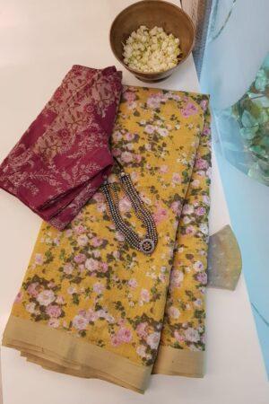yellow kota saree with floral prints