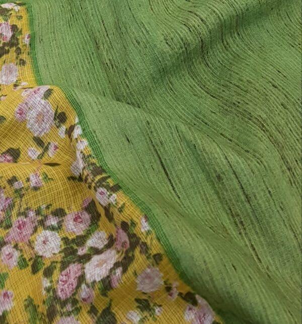 yellow kota saree with floral prints1