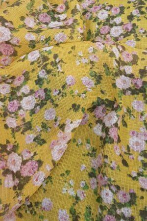 yellow kota saree with floral prints2