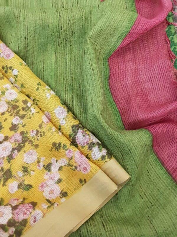 yellow kota saree with floral prints3