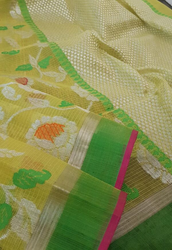 yellow with silver zari and meena work2