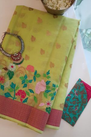yellow with silver zari butta and meena border