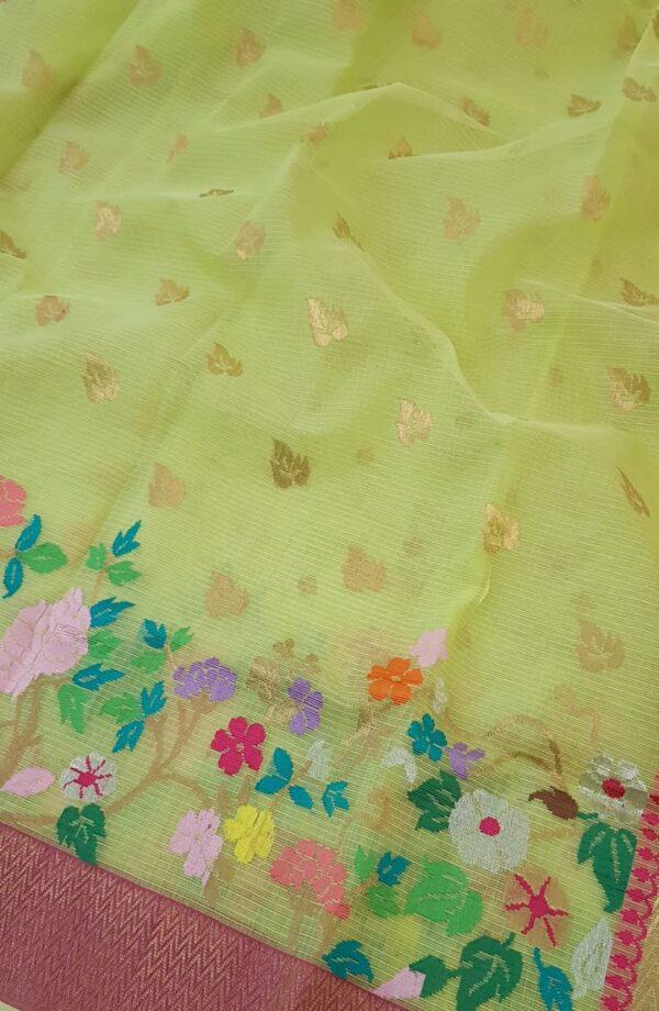 yellow with silver zari butta and meena border1