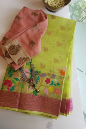 yellow with silver zari butta and meena border4
