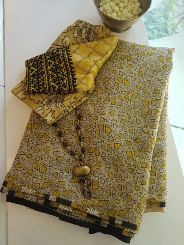 Yellow and beige block printed kota doriya saree1