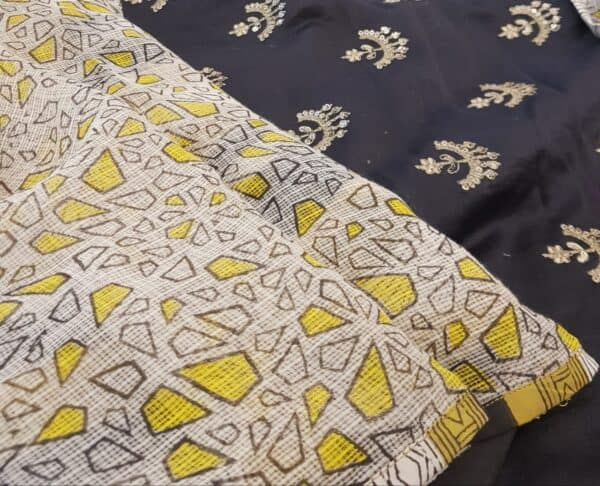 Yellow and beige block printed kota doriya saree2