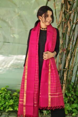 arakku checks kamchipuram silk dupatta