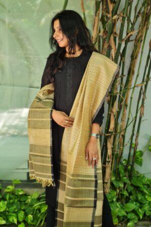 beige and black checks kanchi silk dupatta