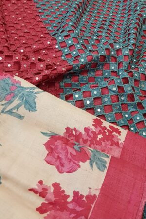 beige with pink and blue cutwork pallu1