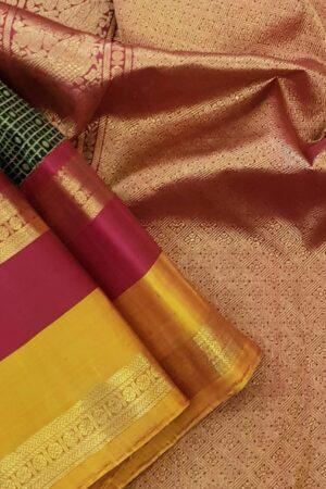 black korvai silk saree with 2 tone border1