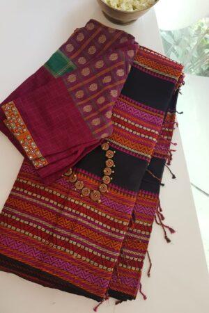 black phulia cotton saree