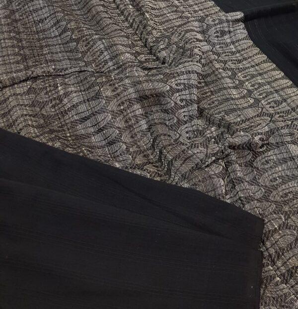 black tectured cotton saree1