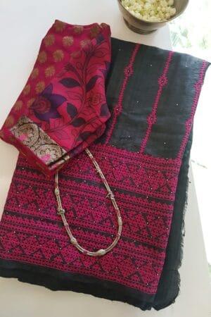 black tussar saree with pink kutch work