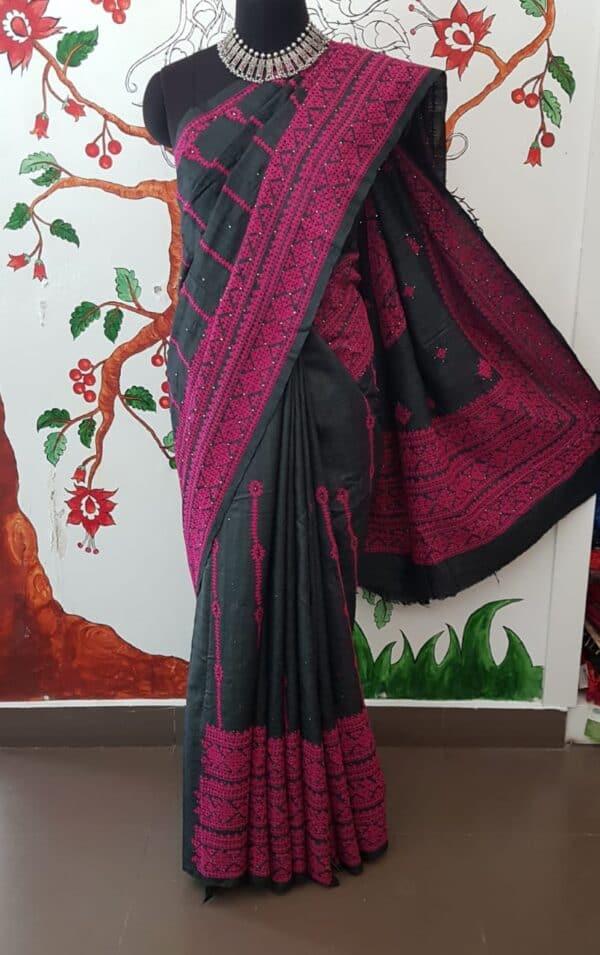 black tussar saree with pink kutch work1
