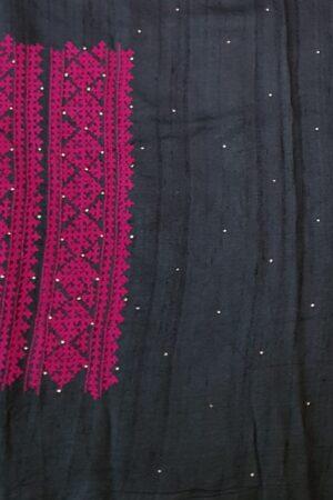 black tussar saree with pink kutch work5