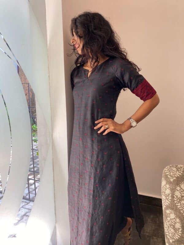 black tussar top with kutch work