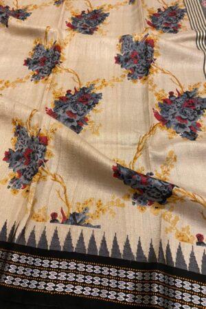 black vidarba saree with block print