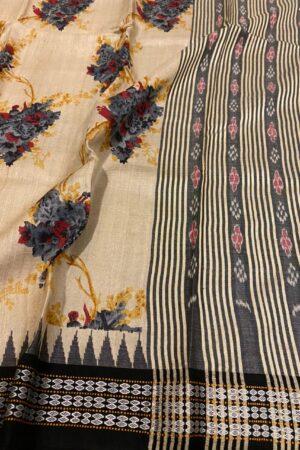 black vidarba saree with block print1