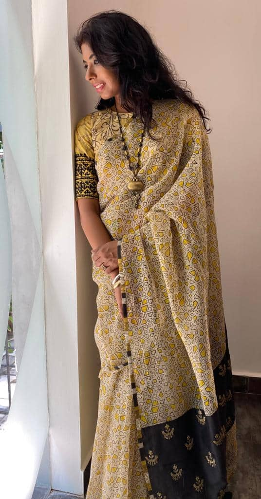 block printed with embroidered pallu
