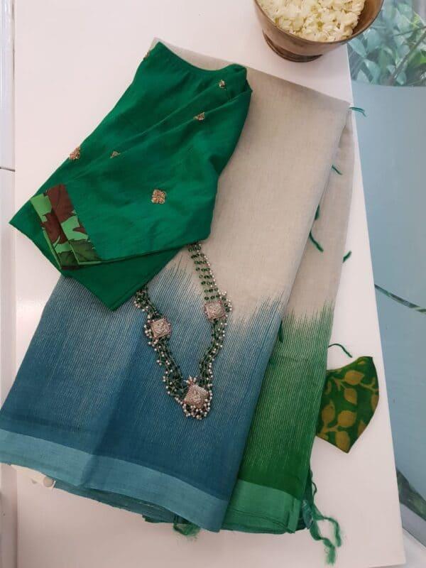 blue green shaded moonga linen