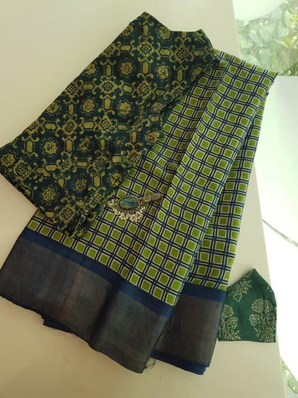 blue green squares zari border tussar saree