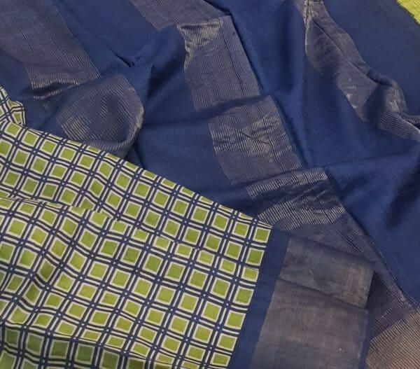 blue green squares zari border tussar saree1