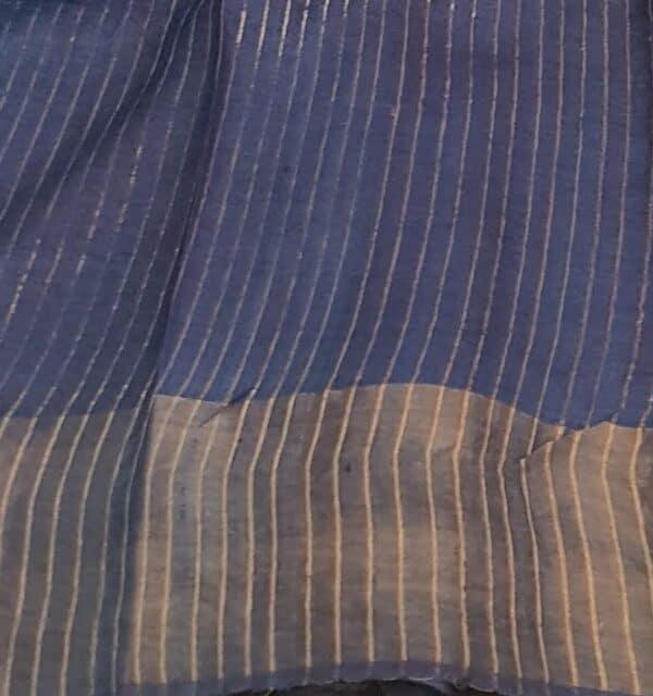 blue green squares zari border tussar saree3