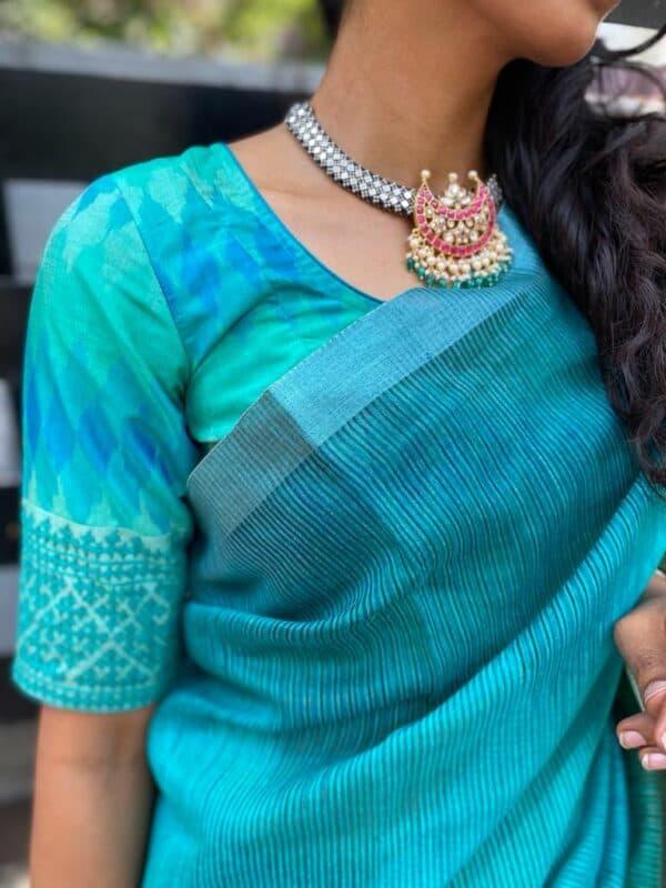 blue ikat blouse