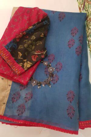 blue organza saree