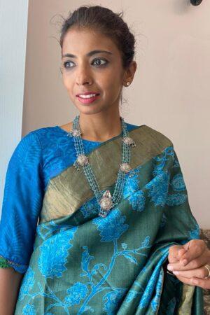 blue tussar dhabu blouse