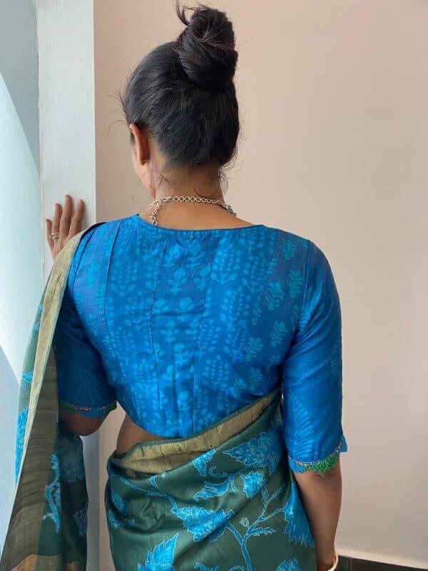 blue tussar dhabu blouse1
