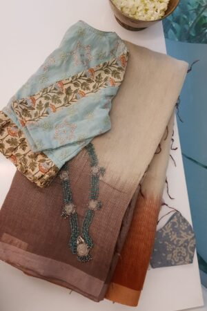 brown and rust shaded moonga linen