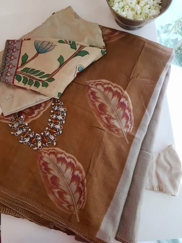 brown hand painted tussar saree with embroidery