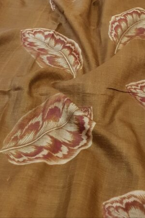 brown hand painted tussar saree with embroidery1
