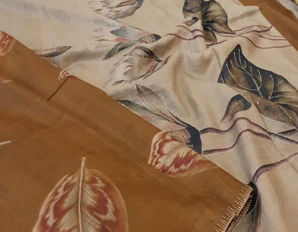 brown hand painted tussar saree with embroidery2