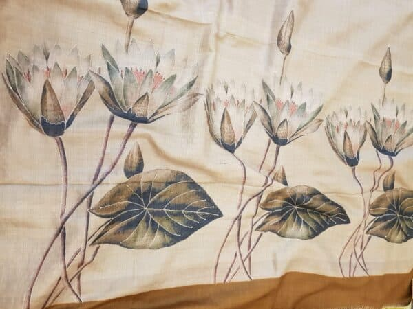 brown hand painted tussar saree with embroidery3