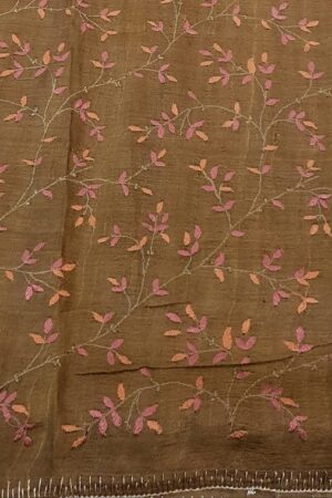 brown hand painted tussar saree with embroidery4