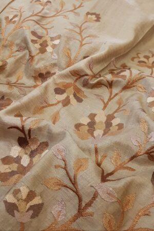 brown hand painted tussar saree with embroidery5