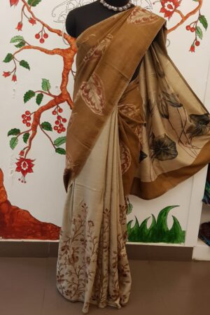 brown hand painted tussar saree with embroidery6