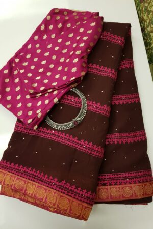 brown georgette saree with pink kutch work