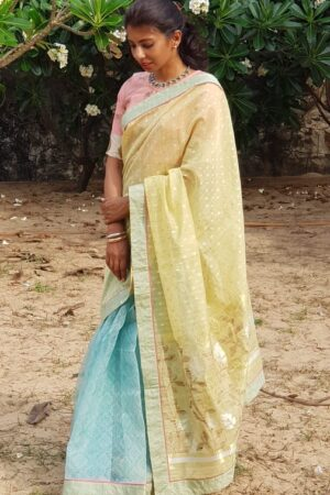 chanderi with blue organza1