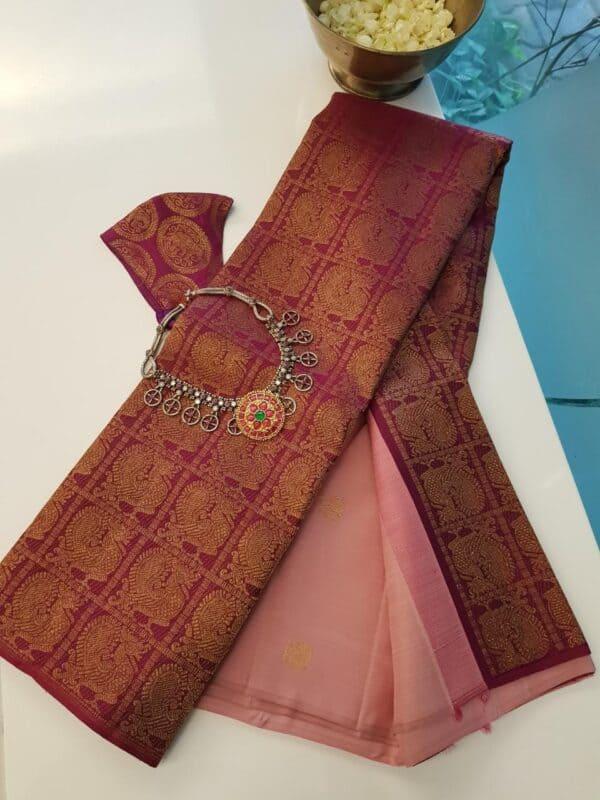 dusty pink shoulder saree