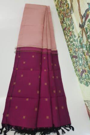 dusty pink with dark pink pallu dupatta