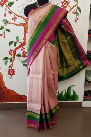 dusty pink with korvai double border kanchipuram silk saree5