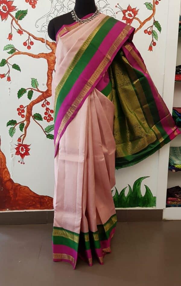 dusty pink with korvai double border kanchipuram silk saree5