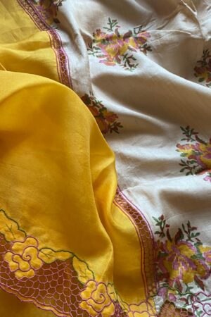 golden yellow orgnaza with tussar pallu and cutwork