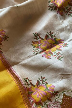 golden yellow orgnaza with tussar pallu and cutwork2