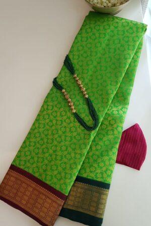 green korvai ganga jamuna saree