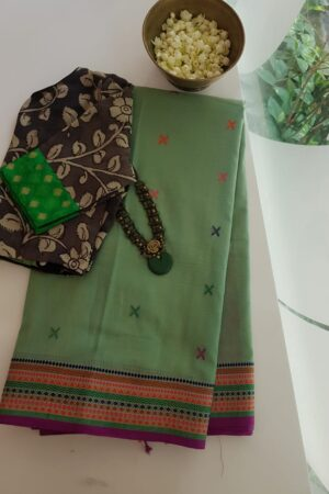 green phulia saree